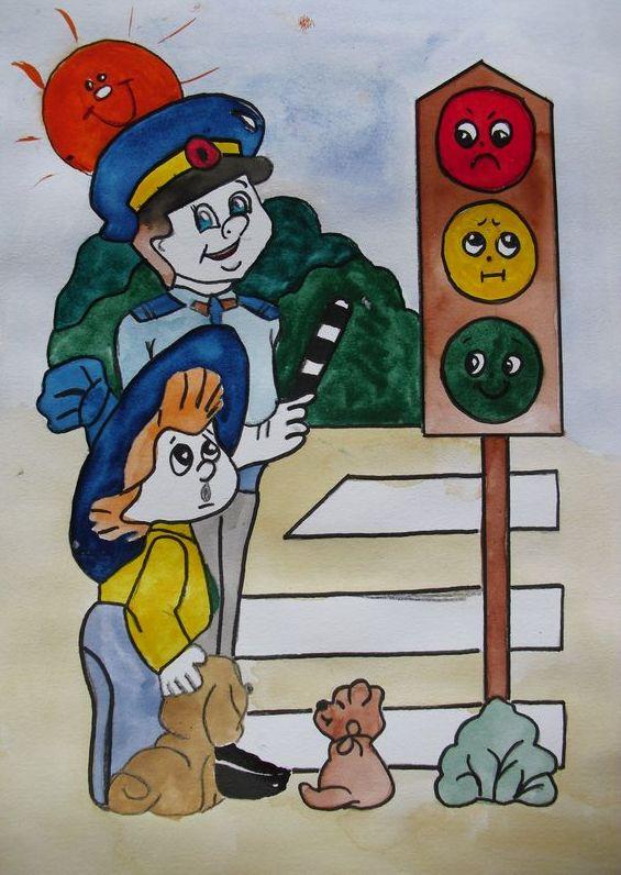 фото рисунки детские пдд